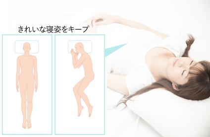きれいな寝姿勢をキープ